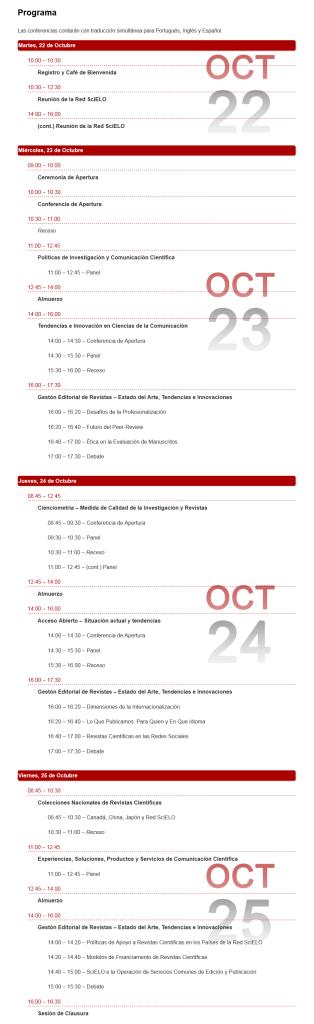 El Programa de la Conferencia SciELO 15 Años.