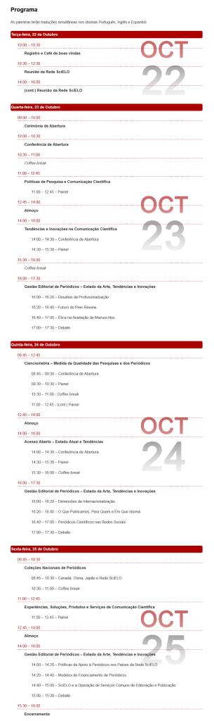 Programa da Conferência SciELO 15 Anos.