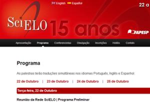 Programa da Conferência SciELO 15 Anos