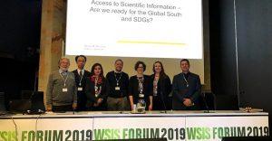 """Encontro de Plataformas de Acesso Aberto na sessão intitulada """"Acesso à Informação Científica – Estamos prontos para o Sul Global e os ODS?"""" no Fórum WSIS 2019"""